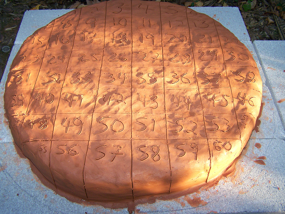 Carefully labeled clay, to be cut into bricks for a bread oven