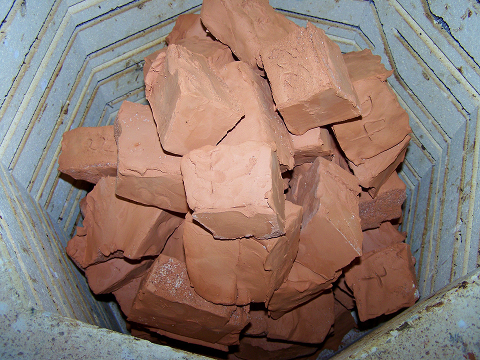 Clay blocks within Ken Albala's hand-built oven
