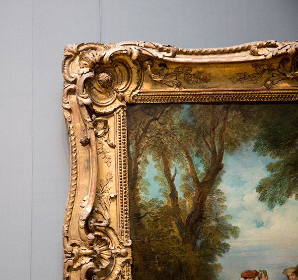 Detail of frame around Dance Before a Fountain / Nicolas Lancret