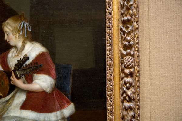 Detail of frame around The Music Lesson / Ter Borch