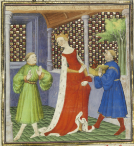 Creusa Receiving the Burning Jewelry from Medea, detail of illuminated manuscript, ca 1415. J. Paul Getty Museum