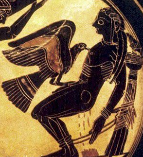 On this 6th-century BC drinking cup, Prometheus is attacked by Zeus's eagle, a punishment for giving humans fire. His blood nourished a plant used by Medea to protect Jason. http://www.theoi.com/Gallery/T20.1C.html
