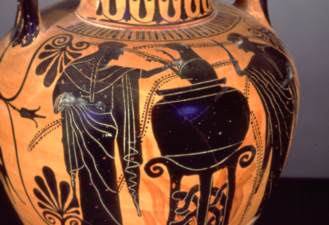 Urn depicting Medea bringing a dismembered lamb back to life with an herbal concoction. Attic black amphora, ca. 500 BC. Etrurian. Via the collection of the Harvard University Art Museums.