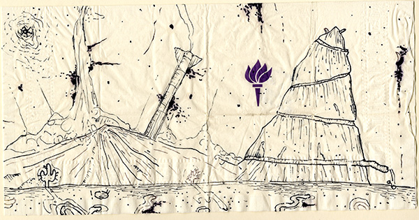 Failure Drawing #301, NYU/Napkin, Rocket Crash, William Pope.L. Courtesy of the Artist © Pope.L