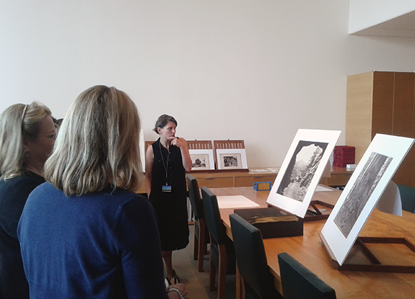Curator Mazie Harris with teacher workshop participants in the Getty Museum Department of Photographs Study Room