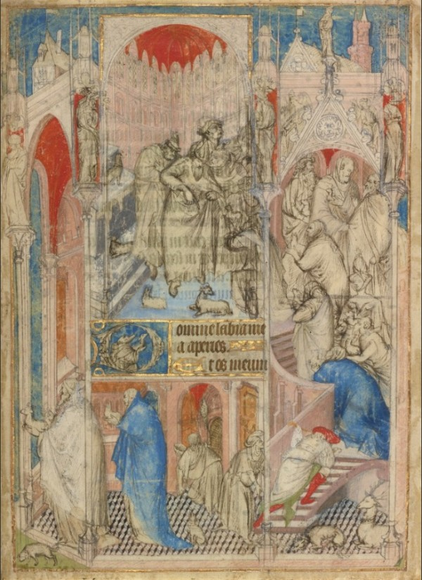 The Rejection of Joachim and Anna's Offering, leaf from a book of hours, about 1410–30, attributed to the Rohan Master or immediate circle. Tempera colors and gold on parchment, 10 ¼ x 7 5/16 in. The J. Paul Getty Museum, Ms. 112, recto