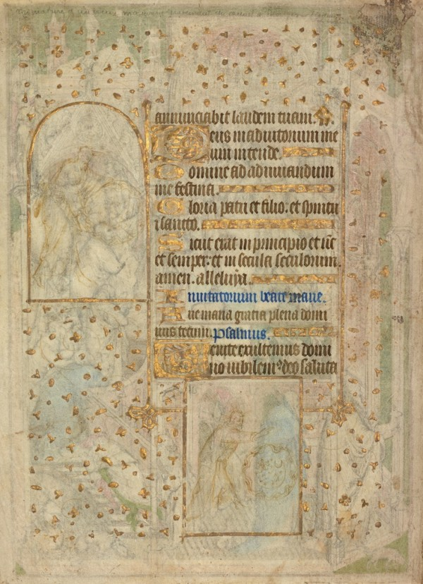 Scenes from the Creation, leaf from a book of hours, about 1410–30, attributed to the Rohan Master or immediate circle. Tempera colors and gold on parchment, 10 ¼ x 7 5/16 in. The J. Paul Getty Museum, Ms. 112, verso