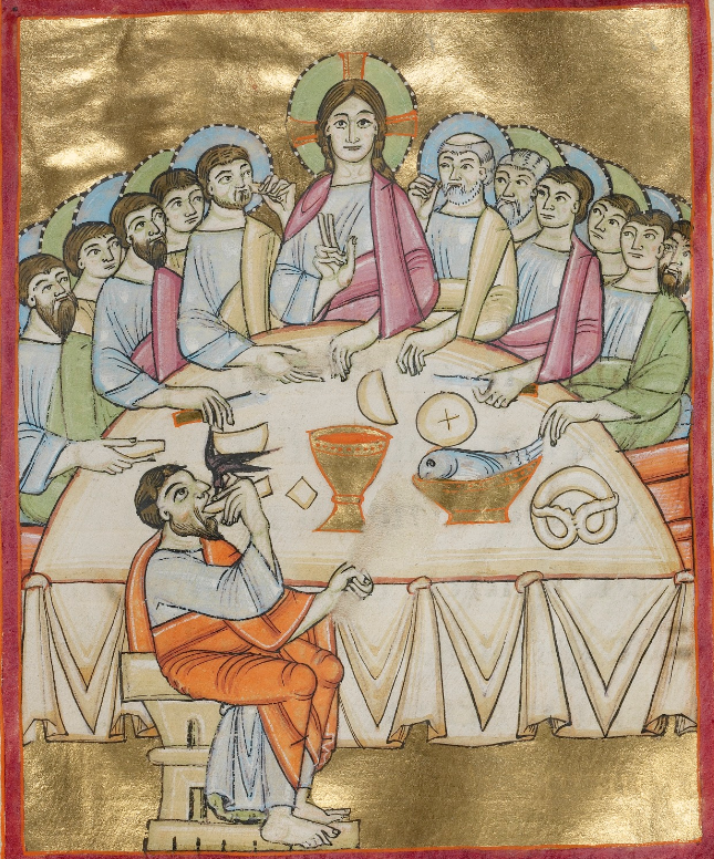 Last Supper, Benedictional, Regensburg, about 1030-40, The J. Paul Getty Museum, Ms. Ludwig VII 1, fol. 38