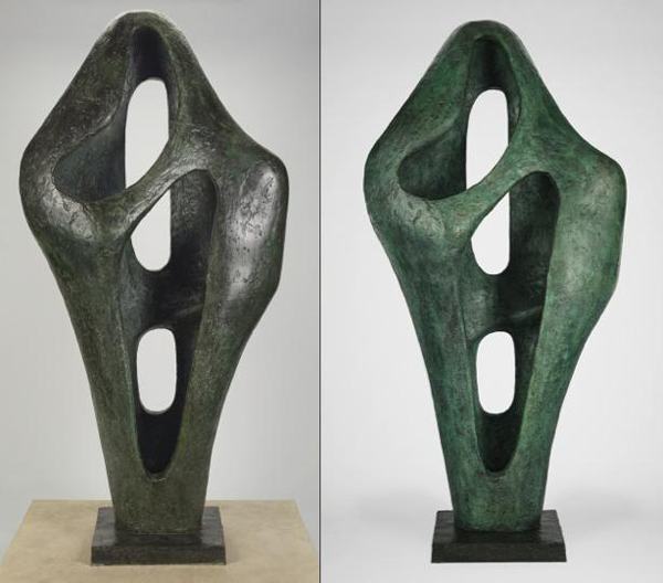 Figure 1: Figure for Landscape, 1960, Barbara Hepworth. Bronze. The sculpture can be seen before treatment on the left and after treatment on the right. The J. Paul Getty Museum, Gift of Fran and Ray Stark, 2005.108. © Bowness