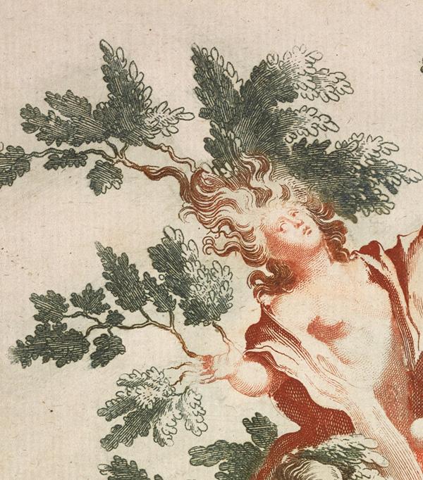 Detail of etching of sugar sculpture / Teyler after Lenardi