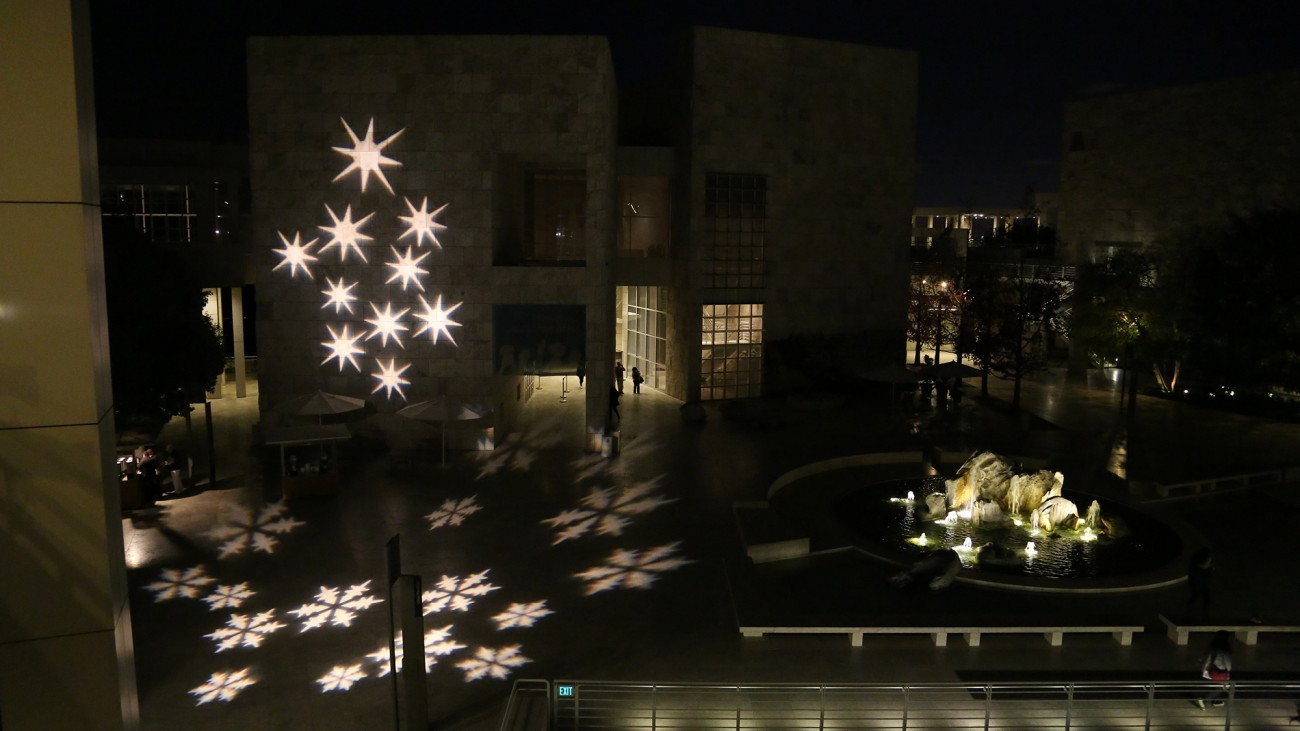 Holiday lights at the Getty Center