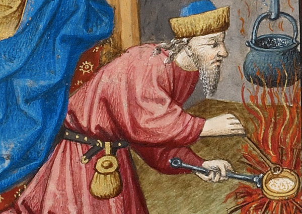 Detail of Joseph cooking in a Renaissance manuscript