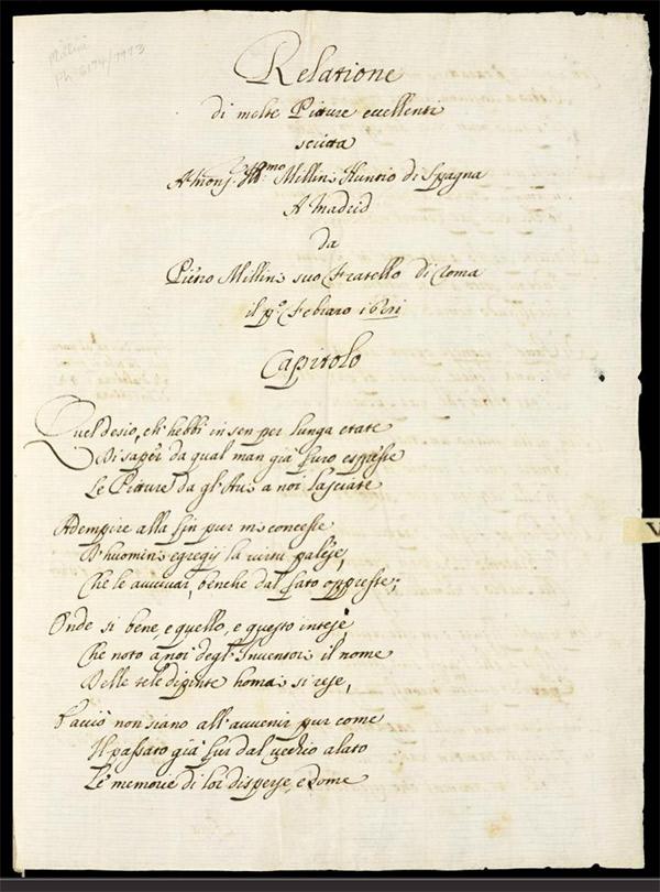 Folio 1r from Pietro Mellini's inventory