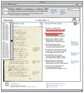 Prototype for the folio-and-transcription view of the Mellini manuscript