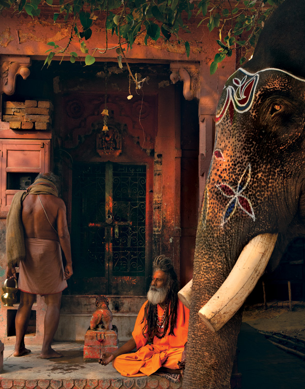 Small Hindu temple with Sadhu. Varanasi, Uttar Pradesh.