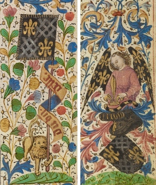 A Young Knight in Armor Kneeling in Prayer before Saint Anthony, Dreux Jean, from The Invention and Translation of the Body of Saint Anthony, about 1465-70. The J. Paul Getty Museum, Ms. Ludwig XI 8, fol. 50