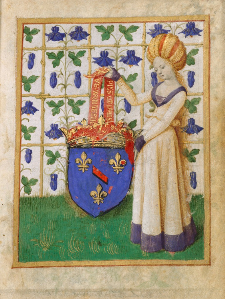 Ms. 7, fol. 1, Coat of Arms Held by a Woman