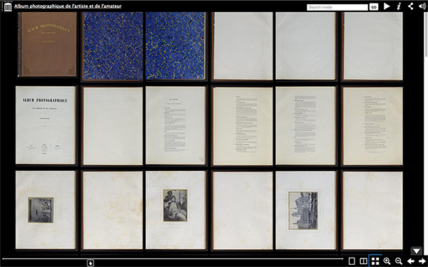 Screenshot of Internet Archive showing the Research Institute's digitized copy of Louis Désiré Blanquart-Evrard's Album photographique de l'artiste et de l'amateur
