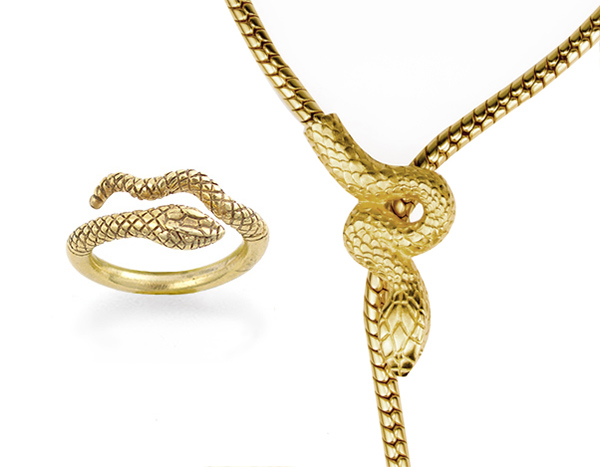 Egyptian snake ring and necklace from the NHM store
