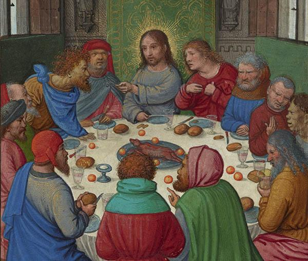 The Last Supper, about 1525–30, Simon Bening. Tempera colors, gold paint, and gold leaf on parchment; 6 5/8 x 4 1/2 in. The J. Paul Getty Museum, Ms. Ludwig IX 19, fol. 83v