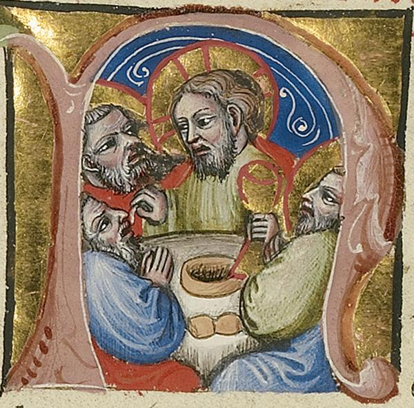 Initial N: The Last Supper, between 1389 and 1404, Master of the Brussels Initials. Tempera colors, gold leaf, gold paint, and ink on parchment; 13 x 9 7/16 in. The J. Paul Getty Museum, Ms. 34, fol. 87v