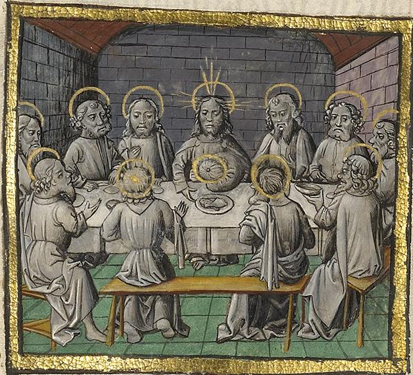 The Last Supper, about 1475, Unknown. Tempera colors, gold leaf, and gold paint on parchment; 17 1/4 x 12 in. The J. Paul Getty Museum, Ms. Ludwig XIII 5, v2, fol. 172
