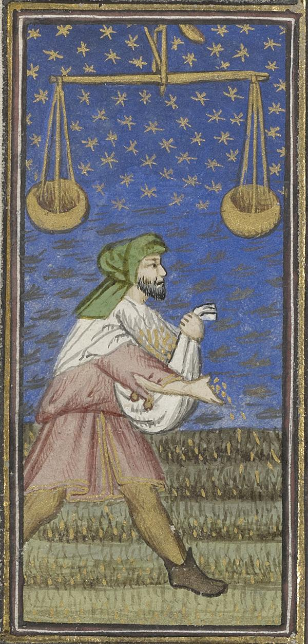 September: A Man Sowing in Book of Hours, about 1415–20, Workshop of the Rohan Master. Tempera colors, gold paint, gold leaf, and ink on parchment; 8 1/16 x 5 13/16 in. The J. Paul Getty Museum, Ms. 22, fols. 9v–10
