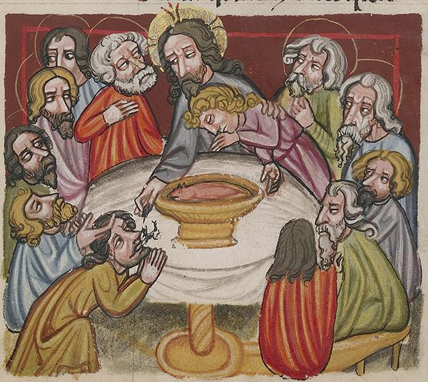 The Last Supper; Christ Washing the Apostles' Feet, about 1400–10, Unknown. Tempera colors, gold, silver paint, and ink on parchment; 13 3/16 x 9 1/4 in. The J. Paul Getty Museum, Ms. 33, fol. 286v