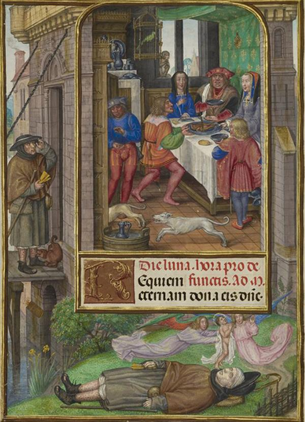 The Feast of Dives in Spinola Hours, about 1510–20, Master of James IV of Scotland. Tempera colors, gold, and ink on parchment; 9 1/8 x 6 9/16 in. The J. Paul Getty Museum, Ms. Ludwig IX 18, fol. 21v