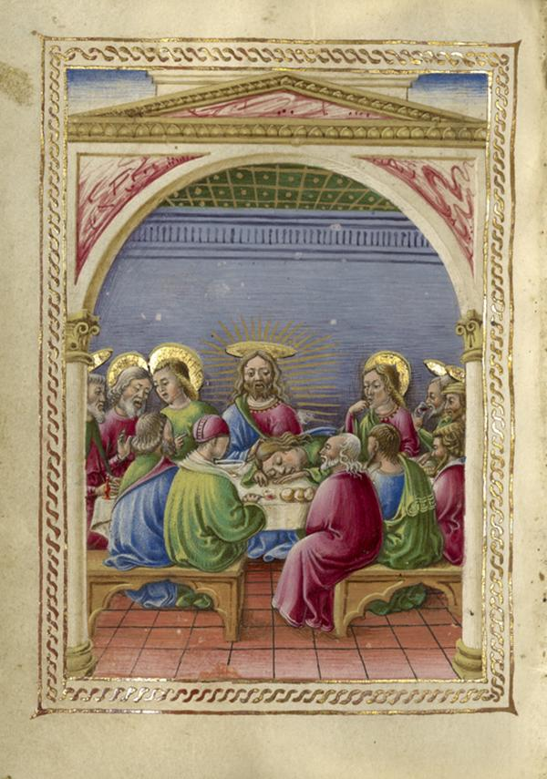The Last Supper, about 1469, Taddeo Crivelli. Tempera colors, gold paint, gold leaf, and ink on parchment; 4 1/4 x 3 1/8 in. The J. Paul Getty Museum, Ms. Ludwig IX 13, fol. 162v