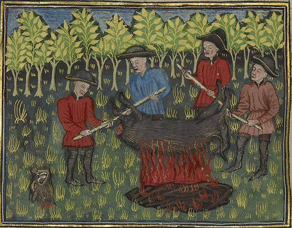 Hunters Roasting a Dismembered Boar's Carcass in Book of the Hunt, about 1430–40, unknown artist, Gaston Phébus, author. Tempera colors, gold paint, silver paint, and gold leaf on parchment; 10 3/8 x 7 1/4 in. The J. Paul Getty Museum, Ms. 27, fols. 67v–68