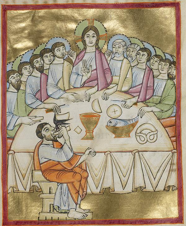 The Last Supper, about 1030–40, Unknown. Tempera colors, gold leaf, and ink on parchment; 9 1/8 x 6 5/16 in. The J. Paul Getty Museum, Ms. Ludwig VII 1, fol. 38