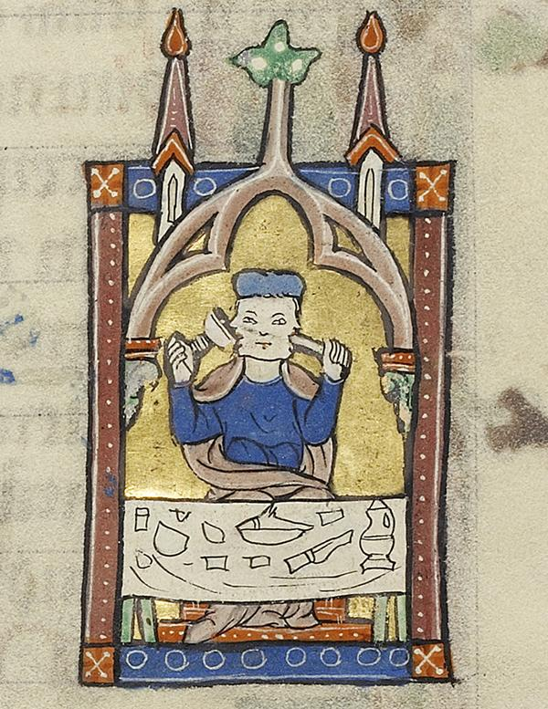 January: Janus Feasting in Ruskin Hours, about 1300, unknown artist. Tempera colors, gold leaf, and ink on parchment; 10 3/8 x 7 3/16 in. The J. Paul Getty Museum, Ms. Ludwig IX 3, fol. 2v