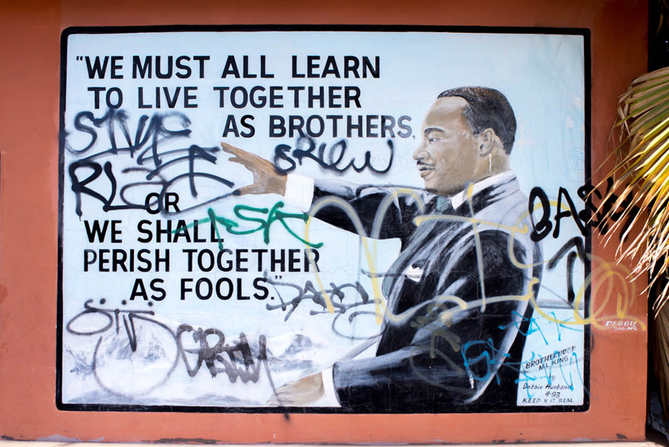 MLK Jr. mural by Debbie Husband, 1993, The Original Bill Taco House, 219 E. Martin Luther King Blvd., photographed 2013