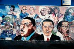MLK Jr., Obama, and Malcolm X mural by Shyaan Khufu, Master Burger, 4423 S. Western Ave., L.,A., photographed 2010