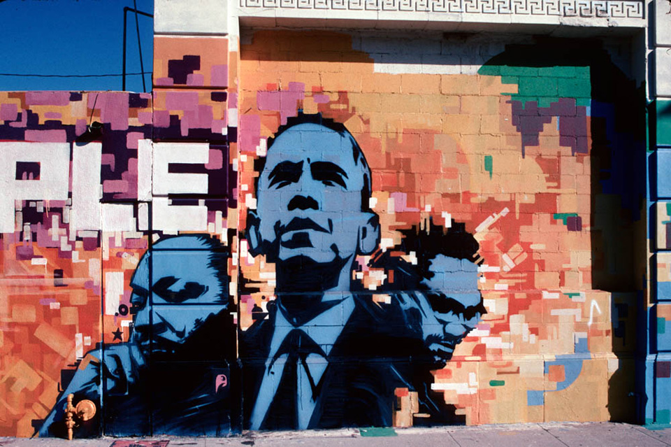 MLK Jr., Malcolm X, and Obama mural at Faith in Christ Ministries, 46th Street at S. Western Ave., photographed 2010