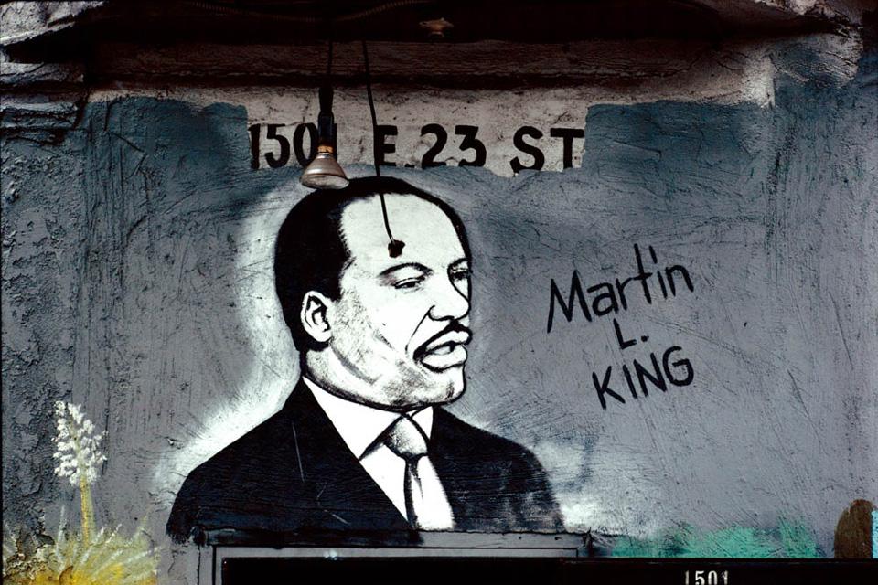 MLK Jr. mural, Amigo Market, 150 E. 23rd St., photographed 1996