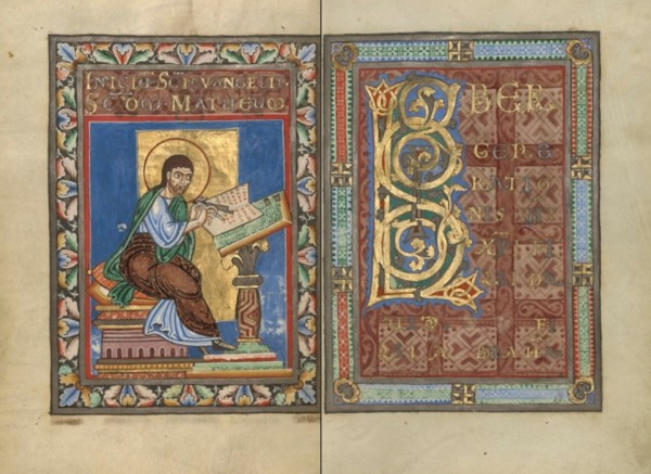 Saint Matthew, about 1120-1140, Helmarshausen, Germany, from Gospel Book. The J. Paul Getty Museum, Ms. Ludwig II 3, fols. 9v-10