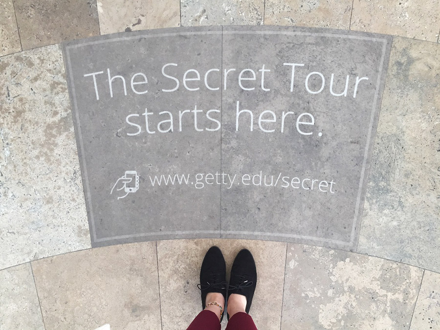 Secret Tour sign at the Getty Center