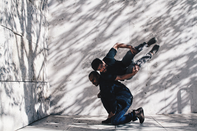 Anibal Sandoval (top) dancing at the Getty for #CamerasandDancers