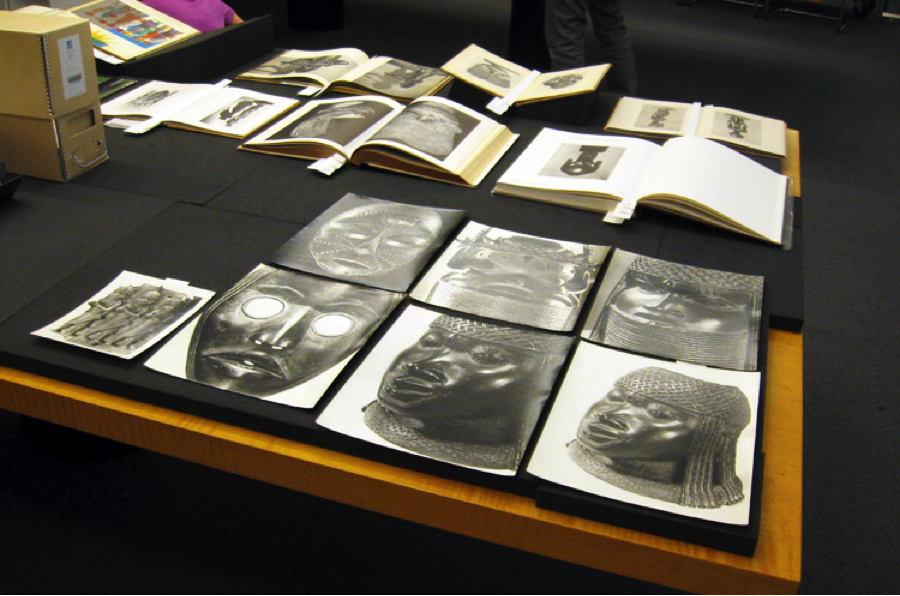 Materials from the Photo Archive of the Getty Research Institute laid out on a table