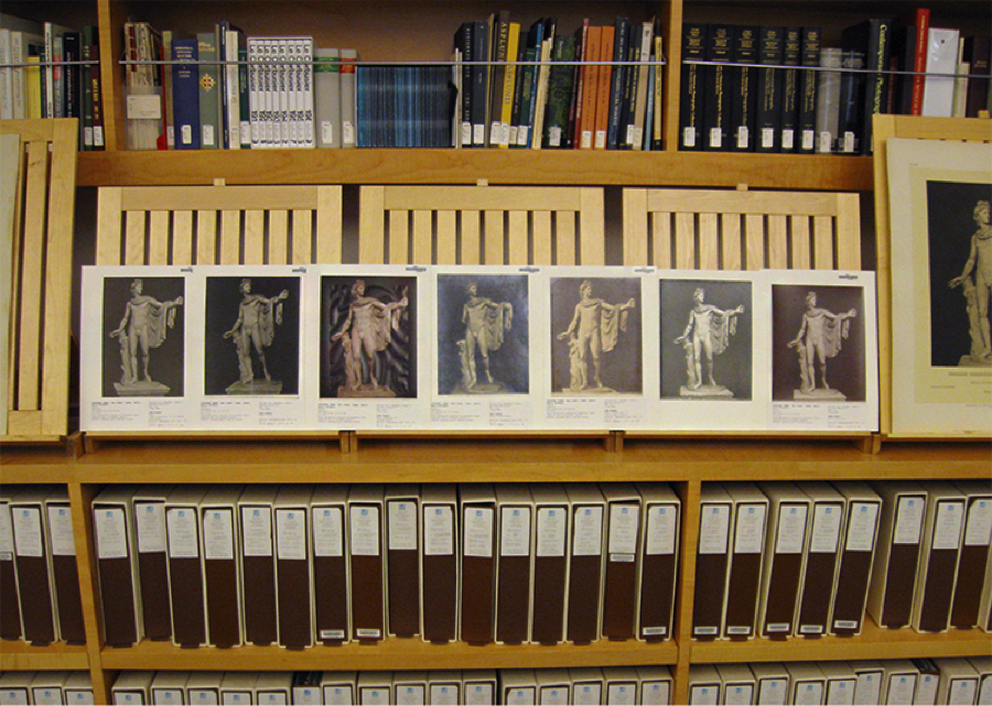 Array of slightly differing photographs of the same sculpture from the Photo Archive of the Getty Research Institute