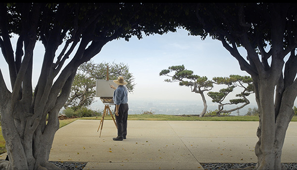 """The establishing shot for the video """"Drawing with Charcoal: Historical Techniques of 19th-Century France""""—filmed on the grounds of the Getty Center—frames artist Timothy Mayhew as he begins a landscape drawing."""
