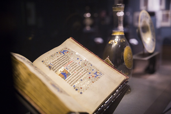 Installation view of Traversing the Globe through Illuminated Manuscripts