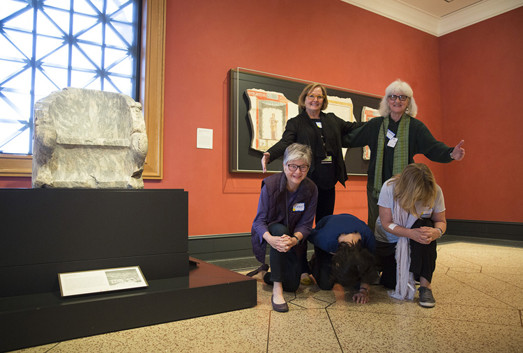 Five Getty Villa docents become an ancient Greek throne