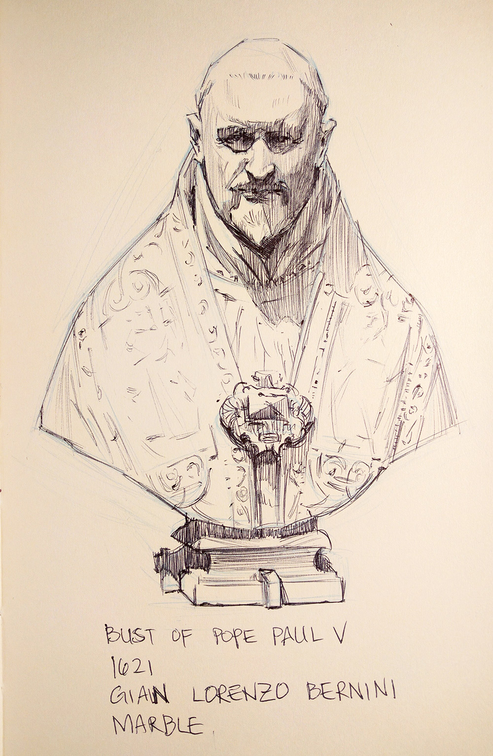 Sketch by Franklin Lei of Bernini's marble Bust of Pope Paul V