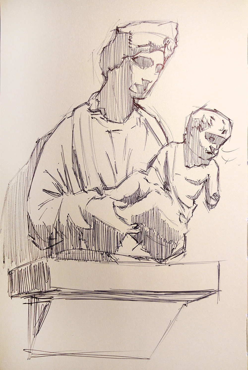 Sketch by Franklin Lei of Riccio's terracotta Virgin and Child