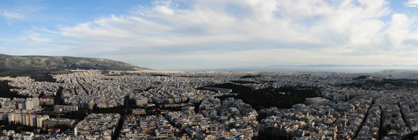 View of Athens towards the Piraeus from Mount Lykavittos, 2014