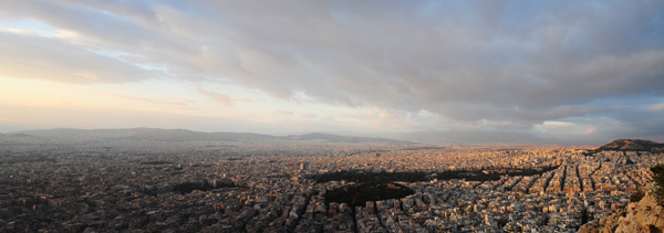 Winter Sunset over Athens from Mount Lykavittos, 2014