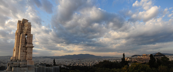 The Philopappos Monument and the Acropolis from Mouseion Hill, 2015